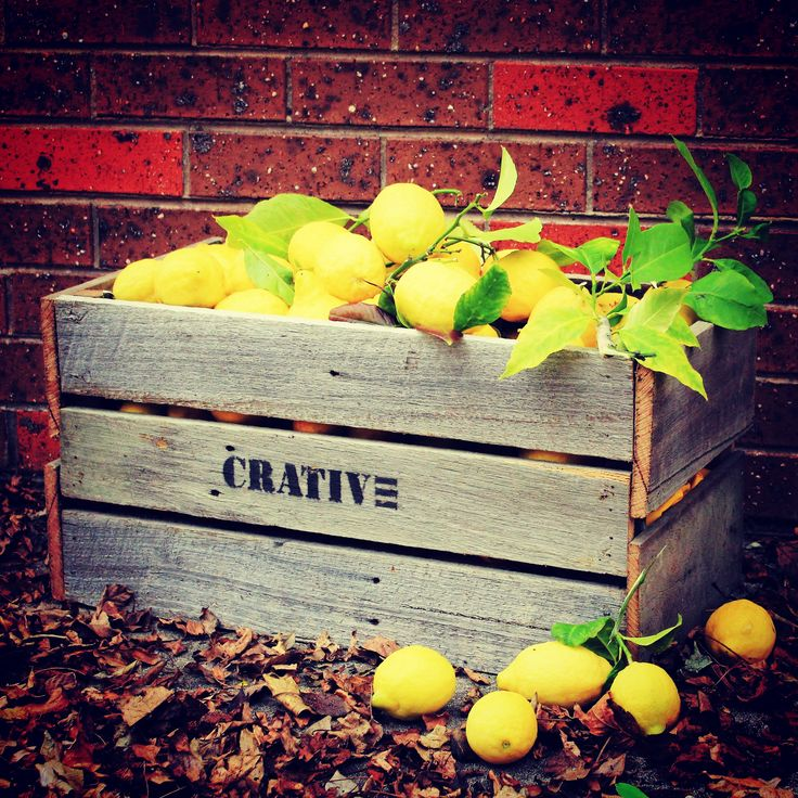 Vintage style fruit crate made from old fence panels