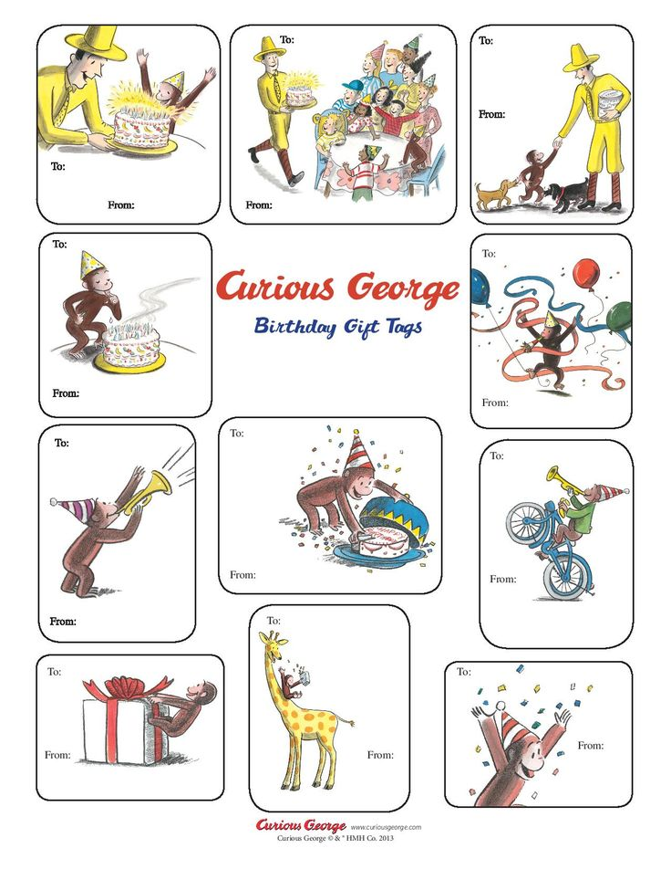 Curious George Birthday Gift Tags