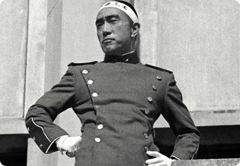 Yukio Mishima just moments before he committed seppuku in 1970 after a failed coup d etat.