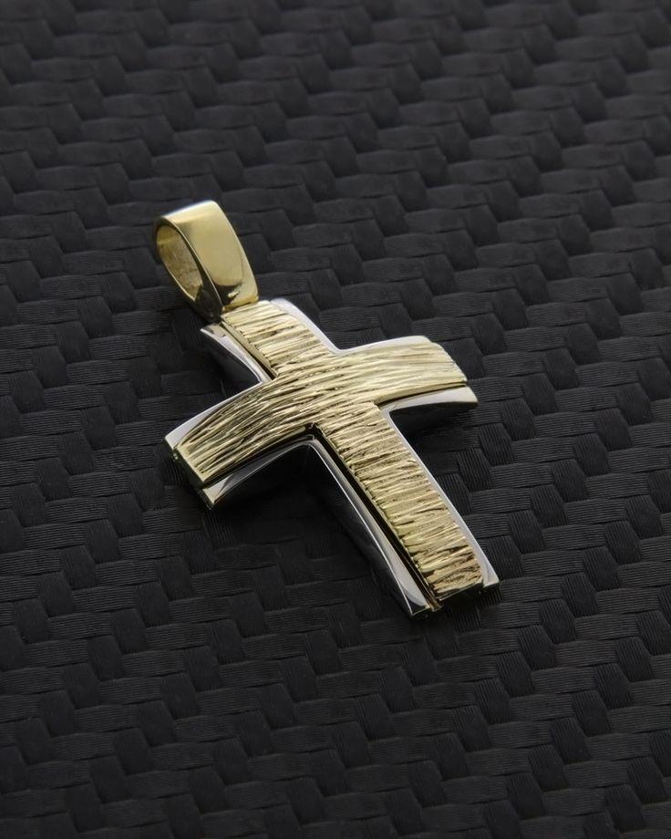Σταυρός βάπτισης χρυσός & λευκόχρυσος Κ9