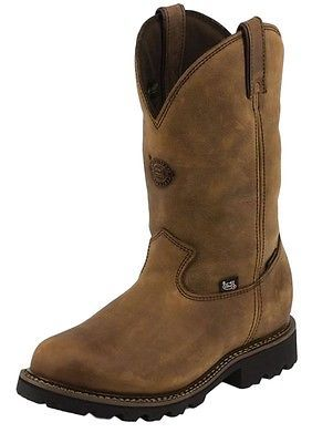 Justin Work Boot Men Waterproof Insulated Pullon 10 D Stag