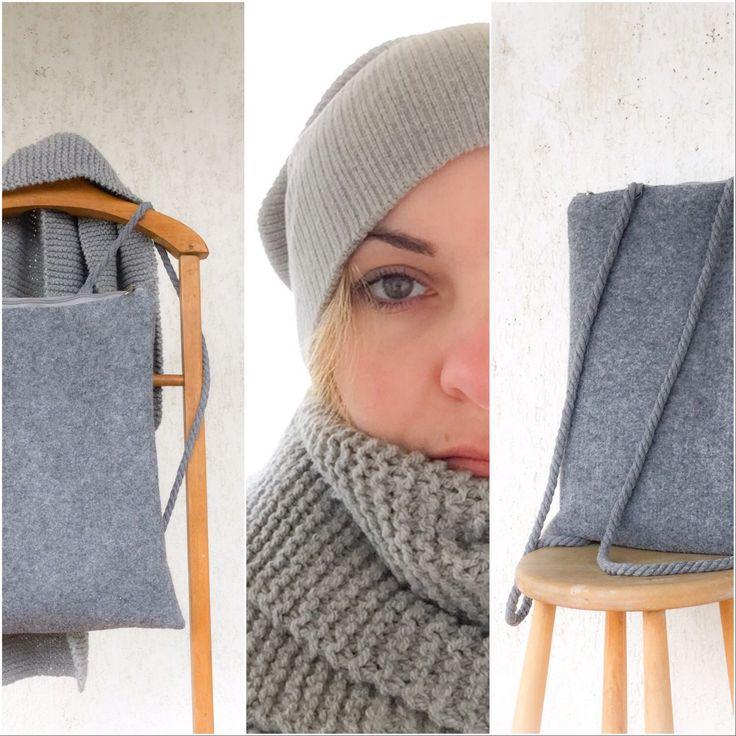 Minimalist grey felt backpack!
