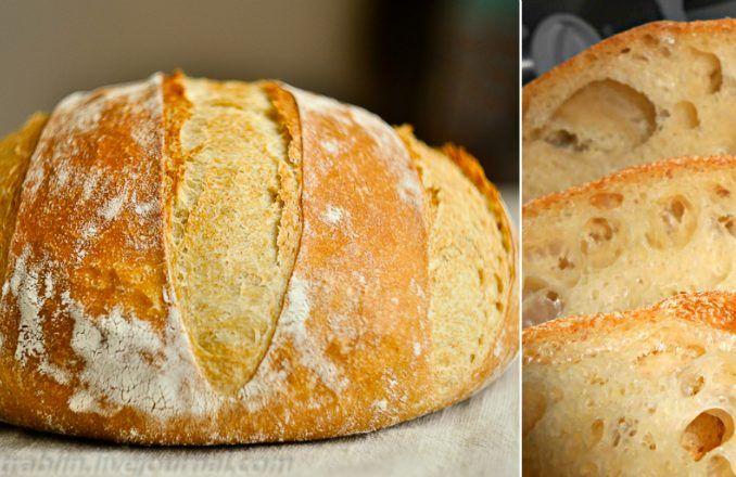 Poznáte niečo, čo vonia krajšie ako čerstvo upečený domáci chlebík? Veľa gazdiniek sa však chlieb bojí pripravovať doma, pretože majú pocit, že to nezvládnu. Na príprave chlebového cesta však nie je nič náročné. Najnáročnejšie zcelého procesu je miesenie, ktoré je ťažké pre ruky. Vtomto recepte však miesiť nemusíte nič.  Chlieb je po upečení vnútri dostatočne vlhký, má veľké bubliny