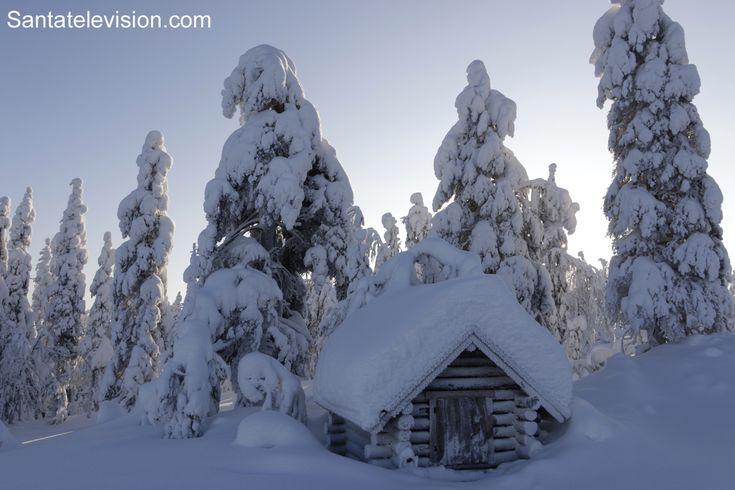 Vistas de las nevadas de Invierno desde la cima del Monte Rita en Pello, Laponia, Finlandia