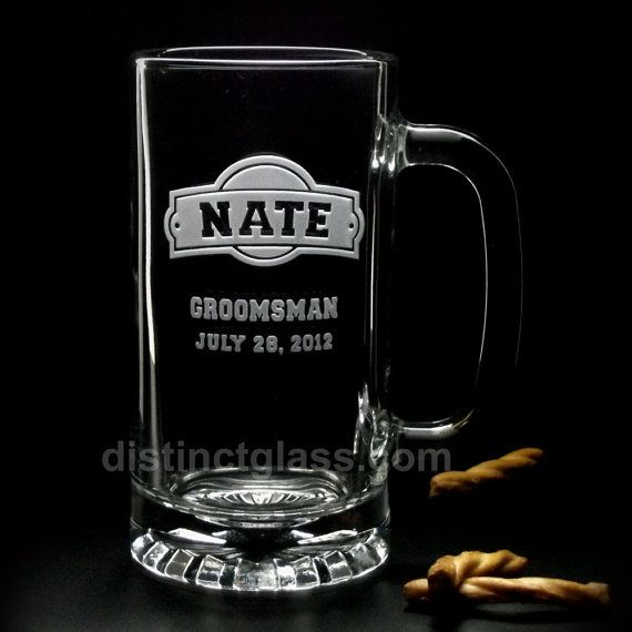 Your groomsmen are your best friends, and love any excuse to raise a glass. These handsome beer mugs with our impressive deep etching are