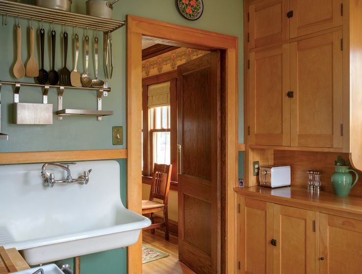 Original birch kitchen cabinets in a 1925 bungalow for Bungalow style kitchen cabinets