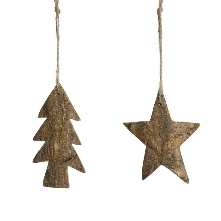Wilko Natures Noel Wooden Tree/Star Decoration    Assorted