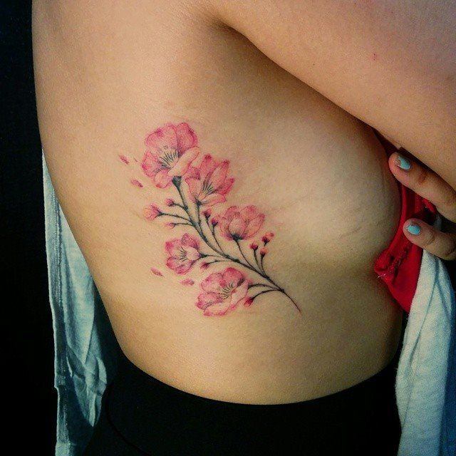 Chronic Ink Tattoo - Toronto Tattoo Freehanded cherry blossoms tattoo done by Miss Lee. #cultural #tattoo #tattoos