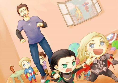 LOVE THIS.  Steve is standing off to the side, wondering what's going on and waiting to see what he could do about it.  Bruce is hiding behind Tony like the man is his protector and safe place.  Flame-on and Spider-guy is watching on the side most likely trying not to laugh.  Loki and Thor are, of course, causing trouble together and being innocent-eyed besties.  Then Tony is, for a lack of better description, screwed.