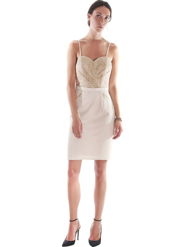 Powder pink sheath dress with lace and sweetheart neckline Pastore Couture