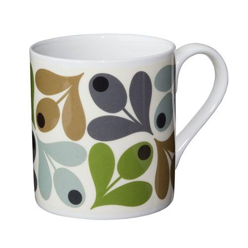 Green Acorn Mug by Orla Kiely bone china