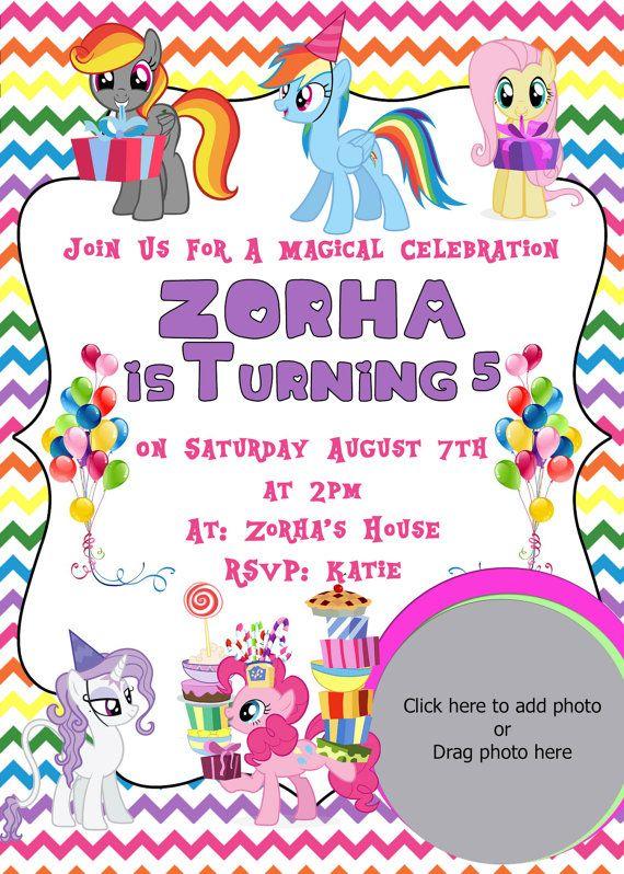 My Little Pony Rainbow  Birthday Invitations by LCMomCreations