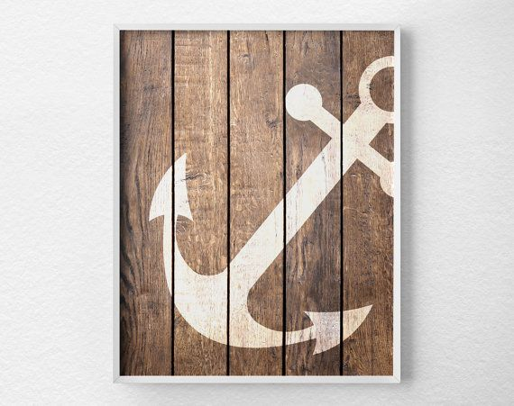 Nautical Anchor Art Print Anchor Decor by LotusLeafCreations