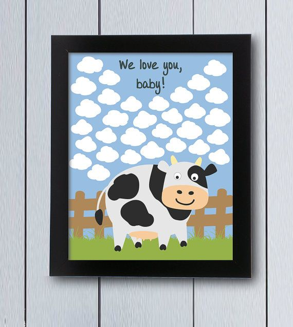 Farm themed party Guest Book cow signature / by RockNPrint on Etsy