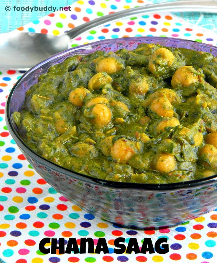 Chana Saag (Spinach Chickpeas Curry) is a smooth, cramy delicous Inidan vegetarian side dish recipe for naan or rice or chapathi