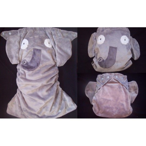 Large Nappyneedz, one size fits most pocket nappy. Detachable ears and trunk and eye appliqué features.  $45 (NZ) without inserts