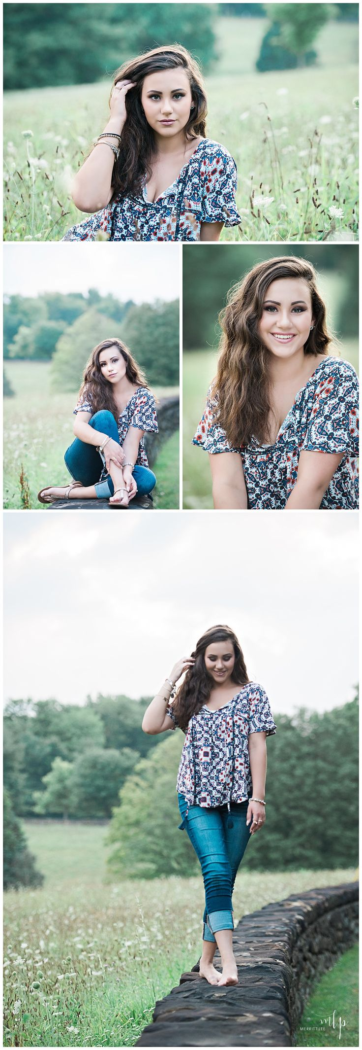 Outdoor Senior Pic Idea! Styled shoot - Hairstyle - Loose Curls - Makeup - Fashion - Natural - Loose Curls - Unique Senior Pictures - Teen Fashion - Senior Inspo - Trendy - Senior Girl Poses - Sewickley Senior Pictures - Pittsburgh Senior Pictures - By Merritt Lee Photography