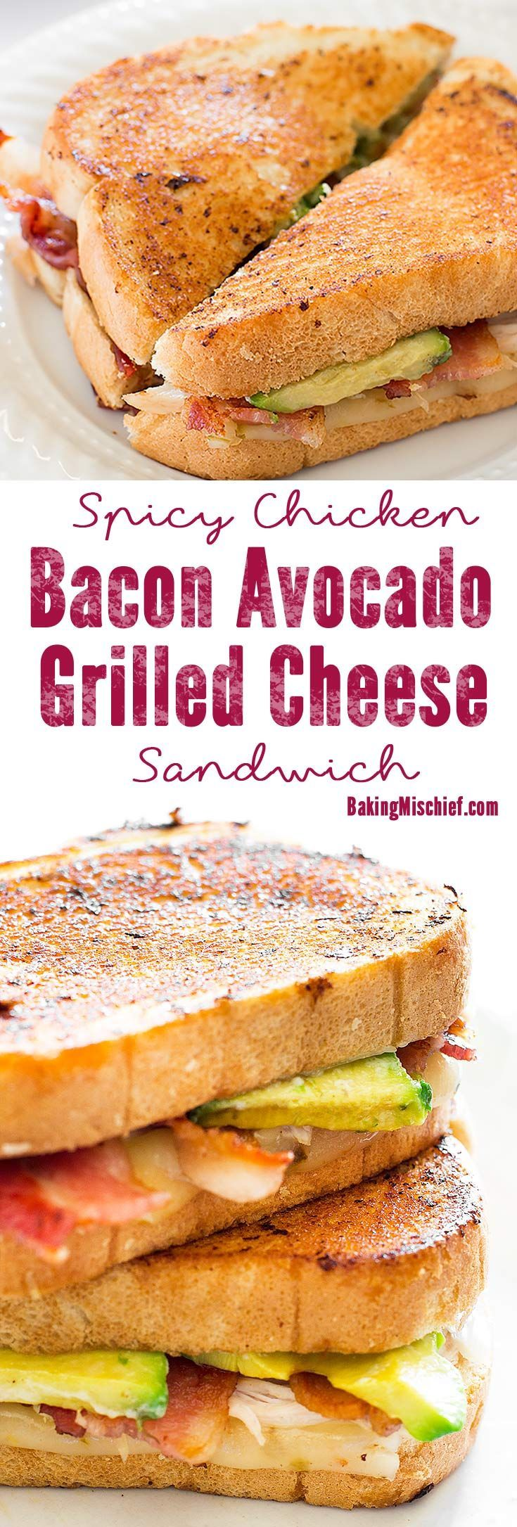A grown up grilled cheese sandwich loaded with bacon, avocado, chicken, and pepper jack cheese. Recipe includes nutritional information. From http://BakingMischief.com