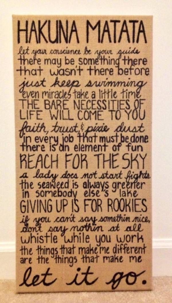 DIY Disney quotes on canvas board!