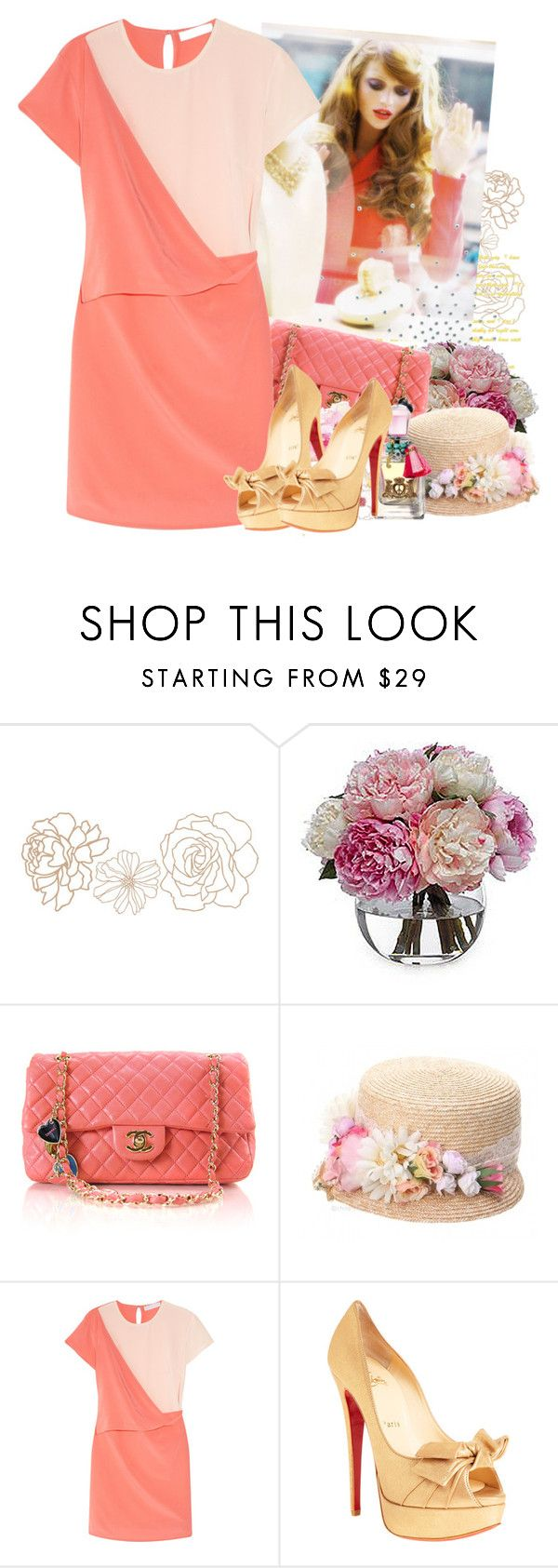 """Peach it, sister...."" by aleksandra ❤ liked on Polyvore featuring Peony, Grevi, Richard Nicoll, Christian Louboutin and Juicy Couture"