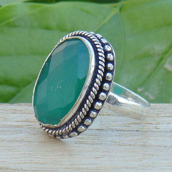 Onyx vert bague  bijoux pierre vert  anneau de mode indienne