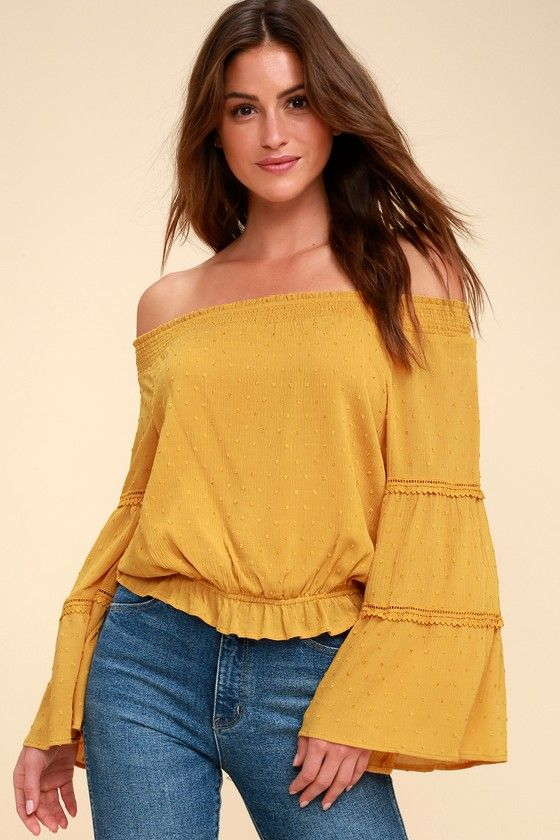 e1a5ceb837715 The Lulus Sunny Story Mustard Yellow Lace Bell Sleeve Off-the-Shoulder Top  tells the tale of special days spent soaking up the sun!