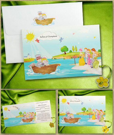 Invitatie nunta 01.40.009 din carton destinat textului pe care apar cei doi miri intr-o barca si un carton suport in culori vesele