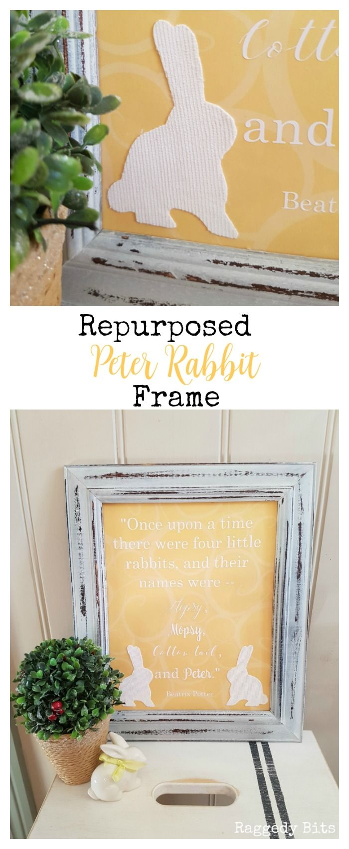 This months Movie Monday Challenge is here again! This time we got to choose a movie as long as it has something to do with Spring! I chose The Tale of Peter Rabbit. Sharing how to make a Repurposed Peter Rabbit Frame   Full tutorial   www.raggedy-bits.com