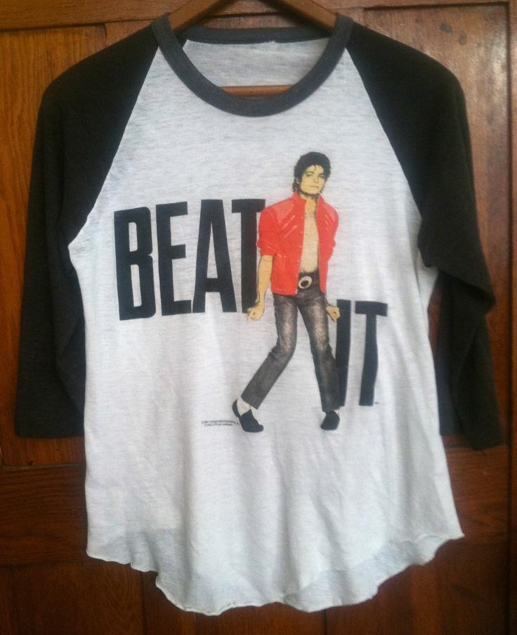 Vintage Michael Jackson Beat It 1984 3/4 length baseball t shirt xs small. $85.00, via Etsy.