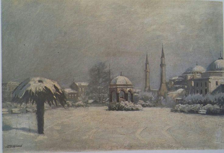 Tahsin(Diyarbakırlı): Sultanahmet Meydanı. Tuval uzerine yagliboya. 49×68 cm. Ozel koleksiyon