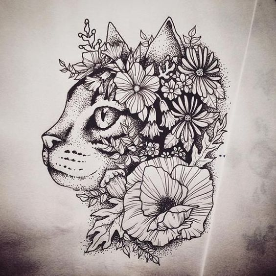 25 Mysterious Cat Tattoos For Women