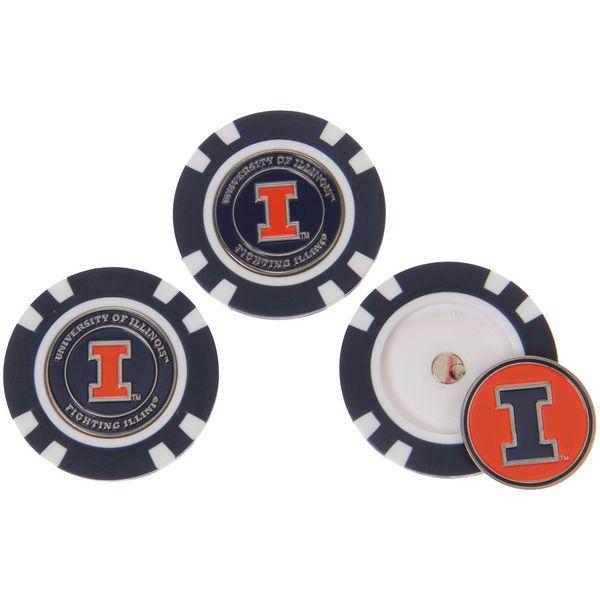 Illinois Fighting Illini 3-Pack Poker Chip Golf Ball Markers - $17.99