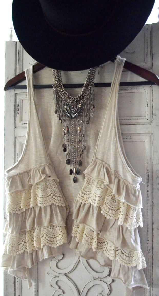 Romantic gypsy cowgirl lace vest, rustic prairie boho beach sand, cottage chic, womens clothing, hand dyed, upcycled, True rebel clothing