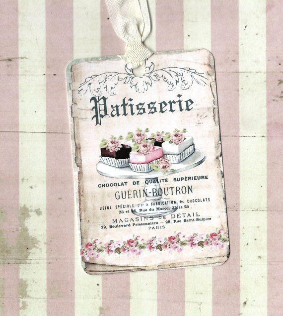 Tags, Gift Tags, Franse Patisserie, bakkerij Tags