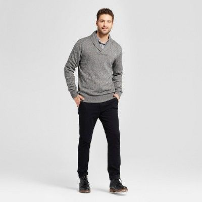 Men's Standard Fit Pullover Shawl Collar Sweater - Goodfellow & Co Gray M