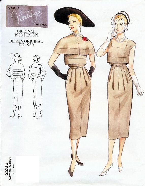Vogue Vintage Model Original 1950 Design Pattern by AllThingsVogue, $15.00