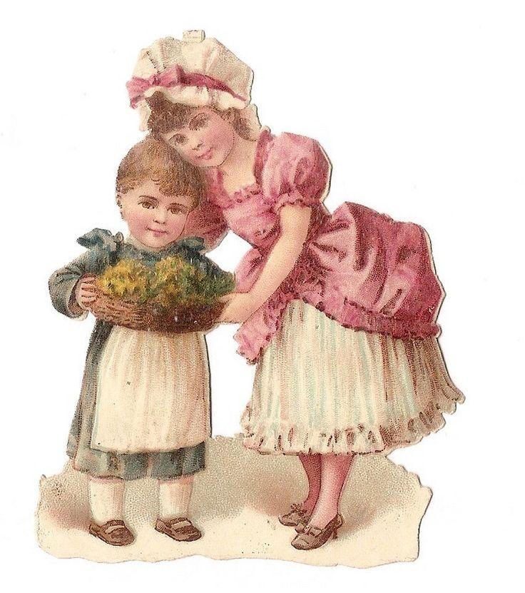 Les enfants - La corbeille de fleurs  - Chromo Decoupi  Victorian Scrap  Oblaten