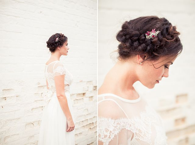 Gorgeous bridal boho hair and antique brooch