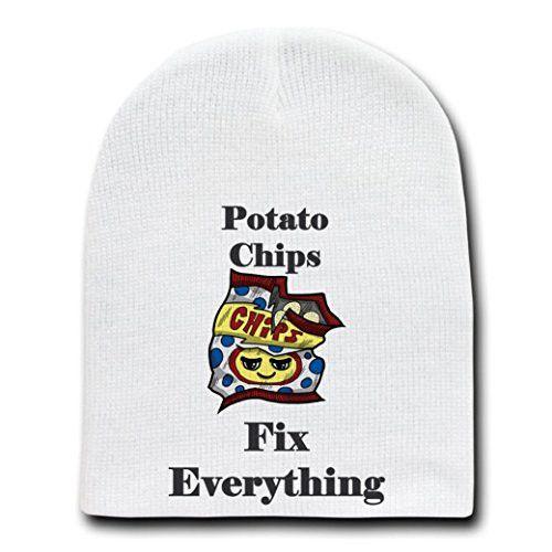 'Potato Chips Fix Everything' Food Humor Cartoon - White Beanie Skull Cap Hat