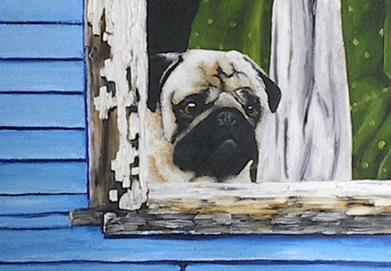 Pug Dog Postcards 8pk Picture Original Dog Art by RMBArtStudio