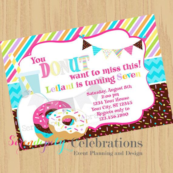 DIY Donut Invite -Personalized Invitation by Serendipity Celebrations