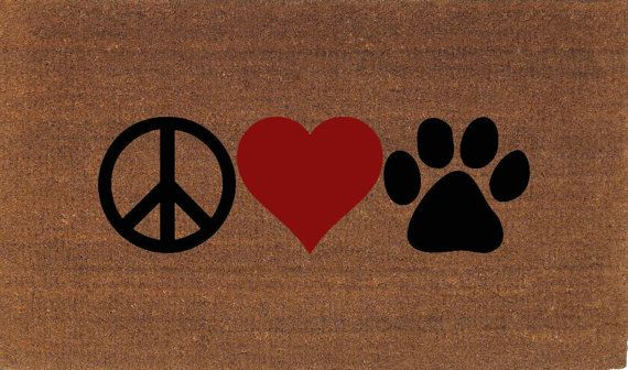 """Peace Love Paw Door Mat, Dog, Cat Lover, Coir Doormat Rug, 2' x 2' 11"""" (24 Inches x 35 Inches), Welcome Mat, Housewarming Gift"""