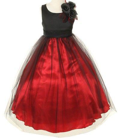 Buy a black & red holiday flower girl dress or formal dress for children for the Christmas season.