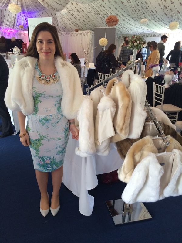 Team Blanche at A Touch of Luxury Wedding Fair, Poundon House. Kathryn is wearing Rose Royal faux fur jacket.