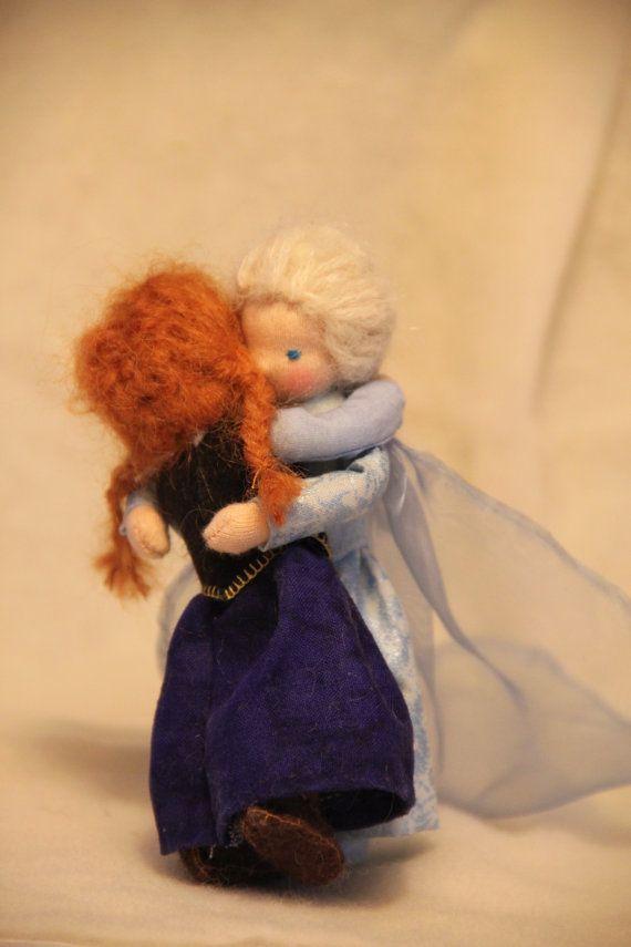 Frozen: Anna and Elsa waldorf style dollhouse dolls