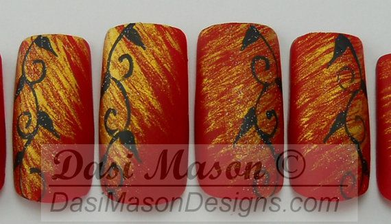 Black and Red Vines Instant Acrylic Nail Set on Etsy, $10.00