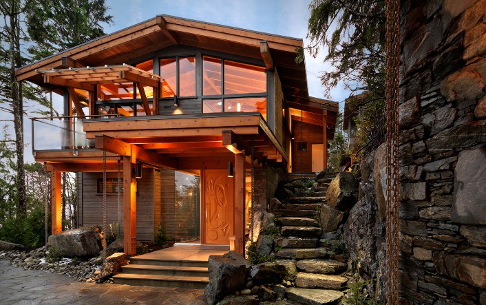 west coast style home stone wood front door  home sweet home  House styles House design Home