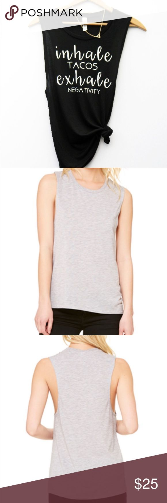 ▷Inhale Tacos, Exhale Negativity. ▷This quote you'll only understand if you love to eat like me! This soft tank is perfect for Taco Tuesday, whether your staying at home, or going out.   ▷This feminine muscle tank is a must-have for workouts, running errands, lounging, or going out on the town. You can dress it up or dress it down. The tank is exceptionally soft and drapes perfectly around curves. The modern elongated armholes and curved bottom hem make this tank perfect for layering…