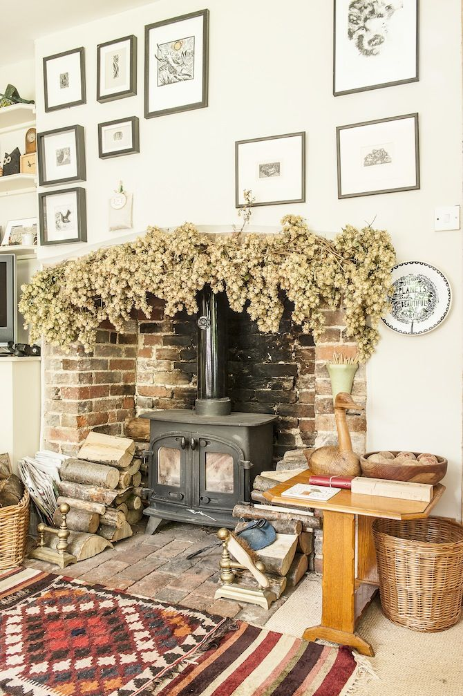dried flowers garland, hops, log burner, cottage living room