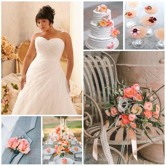 Kleurinspiratie: perzik kleuraccenten voor jullie bruiloft met Julietta trouwjurk www.weddings.nl